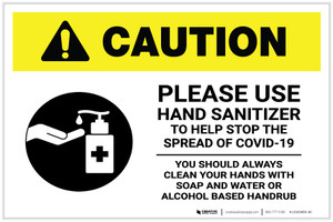 Caution: Please Use Hand Sanitizer - Clean Hands with Soap and Water with Icon Landscape - Label