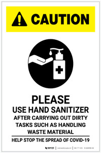 Caution: Please Use Hand Sanitizer - After Carrying Out Dirty Tasks with Icon Portrait - Label