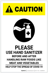 Caution: Please Use Hand Sanitizer - Before and After Handling Raw Food with Icon Portrait - Label