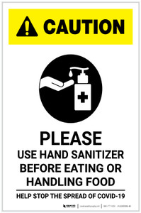 Caution: Please Use Hand Sanitizer - Before Eating or Handling Food with Icon Portrait - Label