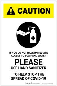 Caution: If You Do Not Have Access to Soap and Water - Please Use Hand Sanitizer with Icon Portrait - Label