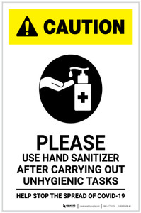 Caution: Please Use Hand Sanitizer after Unhygienic Tasks with Icon Portrait - Label