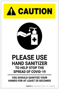 Caution: Please Use Hand Sanitizer - Sanitize Your Hands For at least 20 Seconds with Icon Portrait - Label