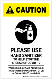 Caution: Please Use Hand Sanitizer - Clean Hands with Soap and Water with Icon Portrait - Label