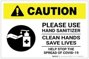 Caution: Please Use Hand Sanitizer - Clean Hands Save Lives Landscape - Label