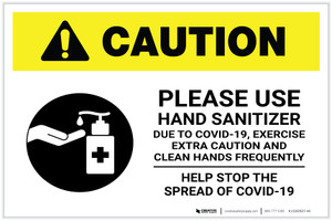 Caution: Exercise Extra Caution and Clean Hands Frequently - Stop Covid-19 Landscape - Label