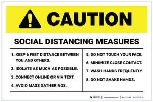 Caution: Social Distancing Measures Portrait - Label