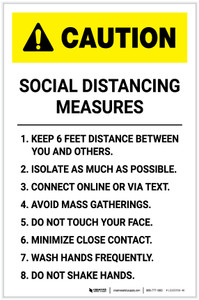 Caution: Social Distancing Wait Here Until Called with Icon Landscape - Label
