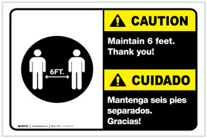 Caution: Maintain 6 Feet Bilingual Spanish with Icon Landscape - Label
