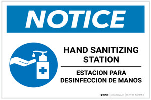 Notice: Bilingual Hand Sanitizing Station with Icon Landscape - Label