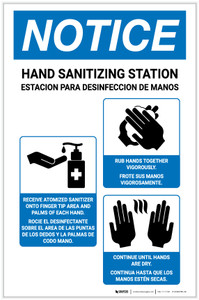 Notice: Bilingual Hand Sanitizing Station How To with Icons Portrait - Label