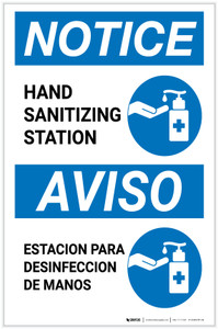 Notice: Bilingual Hand Sanitizing Station with Icon Portrait - Label