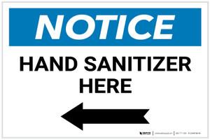 Notice: Hand Sanitizer Here Left Arrow Landscape - Label
