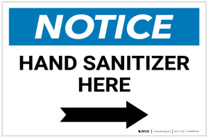 Notice: Hand Sanitizer Here Right Arrow Landscape - Label