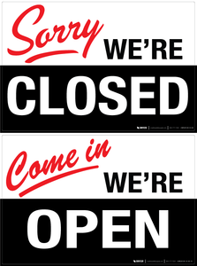 Double-Sided Open / Close - Wall Sign