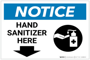 Notice: Hand Sanitizer Here Down Arrow with Icon Landscape - Label