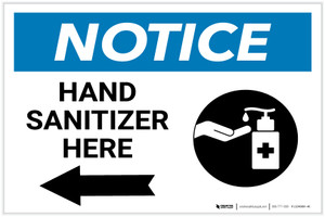 Notice: Hand Sanitizer Here Left Arrow with Icon Landscape - Label