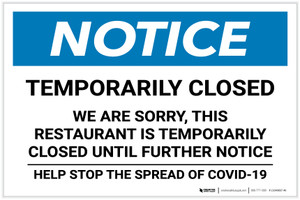 Notice: Temporarily Closed - Restaurant Closed Until Further Notice Landscape - Label
