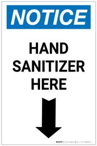 Notice: Hand Sanitizer Here Down Arrow Portrait - Label