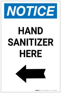 Notice: Hand Sanitizer Here Left Arrow Portrait - Label