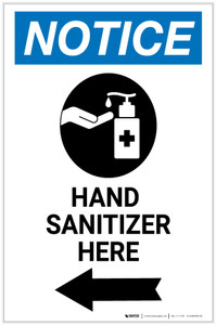 Notice: Hand Sanitizer Here Left Arrow with Icon Portrait - Label