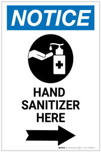 Notice: Hand Sanitizer Here Right Arrow with Icon Portrait - Label