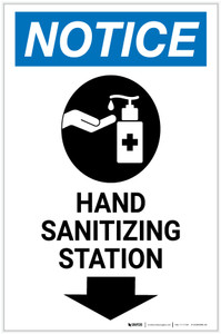 Notice: Hand Sanitizing Station Down Arrow with Icon Portrait - Label