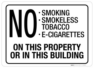 No Smoking On This Property/In This Building - Wall Sign