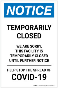 Notice: Temporarily Closed - Facility Closed Until Further Notice Portrait - Label