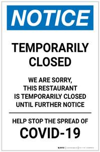 Notice: Temporarily Closed - Restaurant Closed Until Further Notice Portrait - Label