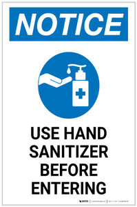 Notice: Please Use Provided Sanitizer Before Entering with Icon Portrait - Label