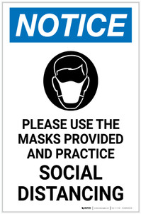 Notice: Please Use the Masks Provided and Practice Social Distancing with Icon Portrait - Label