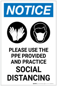 Notice: Please Use the PPE Provided and Practice Social Distancing with Icons Portrait - Label