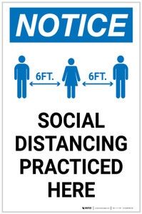 Notice: Social Distancing Practiced Here Portrait - Label