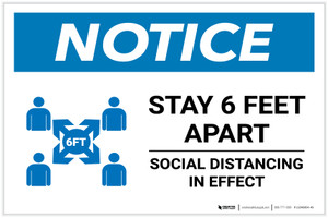 Notice: Stay 6 Feet Apart with Icon Landscape - Label