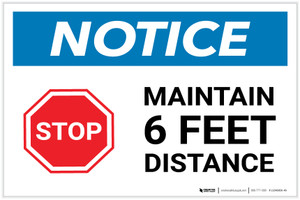 Notice: Stop Maintain 6ft Distance with Icon Landscape - Label
