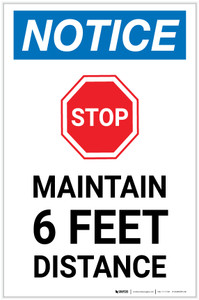 Notice: Stop Maintain 6ft Distance with Icon Portrait - Label
