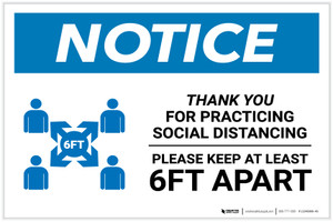 Notice: Thank You For Practicing Social Distancing with Icon Landscape - Label