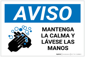 Notice: Keep Calm and Wash Your Hands Spanish with Icon Landscape - Label