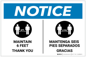 Notice: Maintain 6 Feet - Thank You Bilingual with Icon Landscape - Label