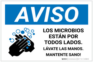 Notice: Stay Healthy Wash Your Hands Spanish with Icon Landscape - Label