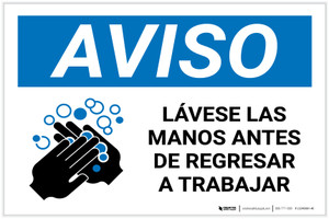Notice: Wash Hands Before Returning To Work Spanish with Icon Landscape - Label