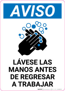 Notice: Wash Hands Before Returning To Work Spanish with Icon Portrait - Label