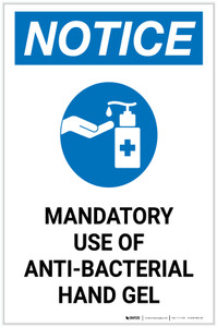 Notice: Mandatory Use Of Anti-Bacterial Hand Gel with Icon Portrait - Label