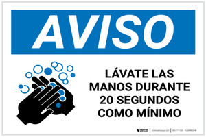 Notice: Reminder To Wash Hands Spanish with Icon Landscape - Label