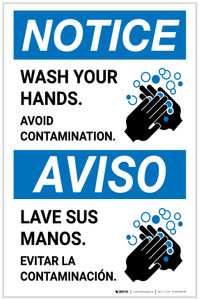 Notice: Wash Your Hands Avoid Contamination Bilingual with Icon Portrait - Label