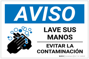 Notice: Wash Your Hands Avoid Contamination Spanish With Icon Landscape - Label