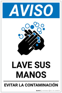 Notice: Wash Your Hands Avoid Contamination Spanish With Icon Portrait - Label