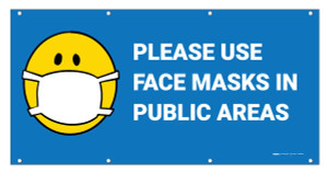 Please Use Face Masks in Public Areas with Facemask Emoji - Banner