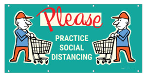 Please Practice Social Distancing with Emoji Shopper - Banner